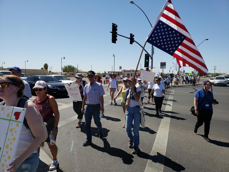 Marchers walked from the San Luis community center to the border and back on Saturday, June 30, 2018.