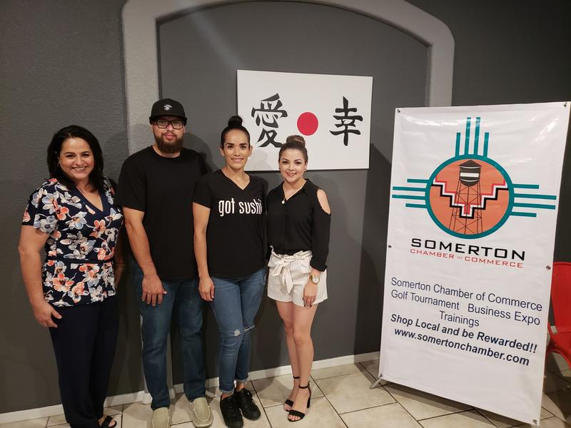 Angela Gallardo of AV Realty LLC and the Somerton Chamber of Commerce; Jaime and Karla Ojeda, owners of Sushi House in Somerton and Stephanie Pereda, Executive Director for the Somerton Chamber.