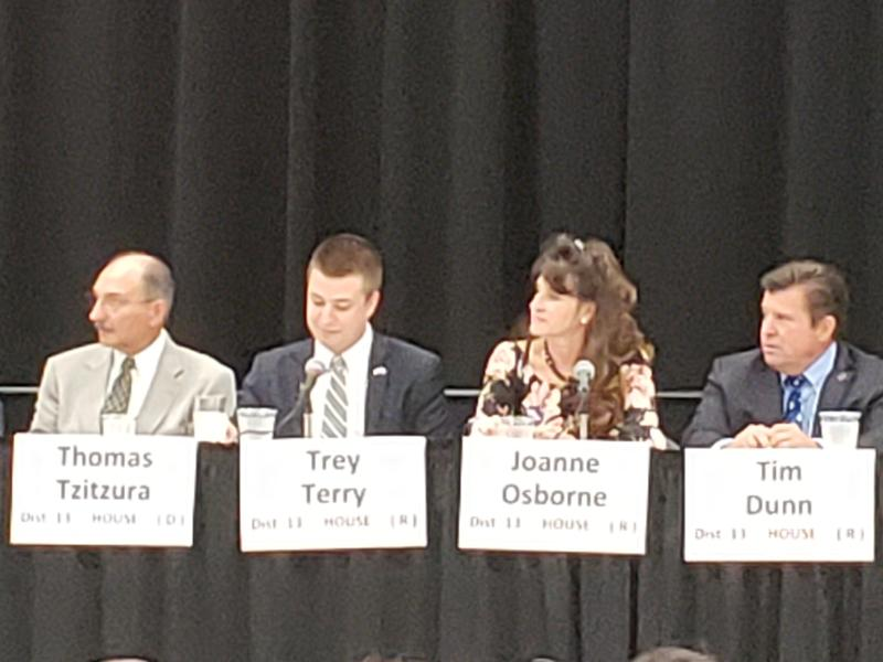 Candidates for state representative in District 13 are Democrat Thomas Tzitzura and Republicans Trey Terry, Joanne Osborne and incumbent Tim Dunn. Not pictured is Republican incumbent Darin Mitchell.