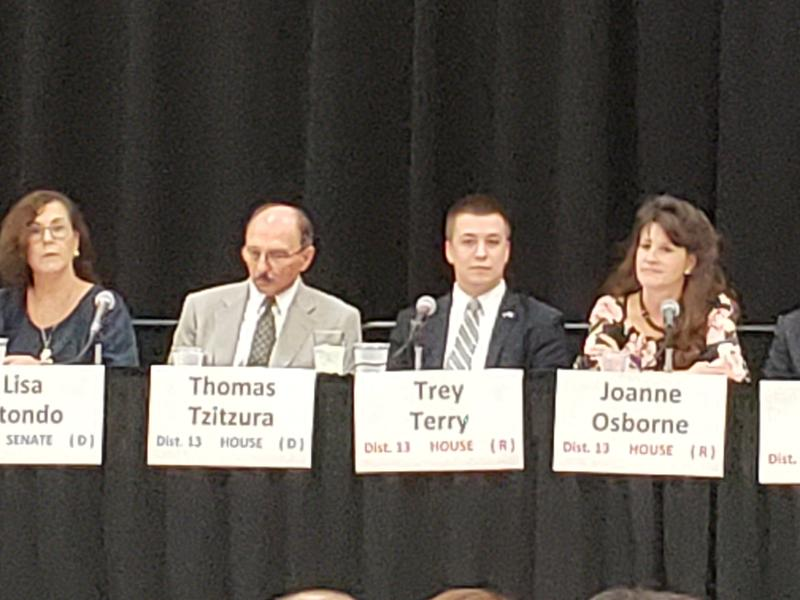Democratic candidates Lisa Otondo and Thomas Tzitzura and Republican candidates Trey Terry and Joanne Osborne at a candidate forum at the Yuma Civic Center on Thursday, August 2, 2018.