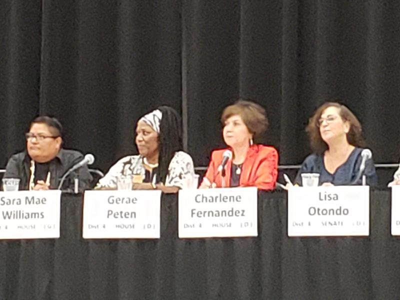 Green party candidate Sara Mae Williams and Democratic candidates Gerae Peten, Charlene Fernandez and Lisa Otondo at a candidate forum at the Yuma Civic Center on Thursday, August 2, 2018.