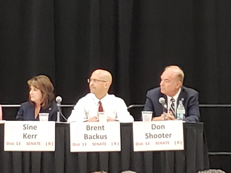Republican state Senate candidates Sine Kerr, Brent Backus and Don Shooter at a candidate forum at the Yuma Civic Center on Thursday, August 2, 2018.
