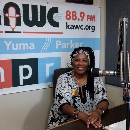"State Rep. Geraldine ""Gerae"" Peten visits the KAWC studios in August."