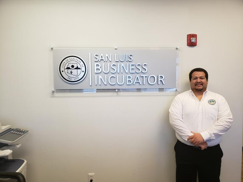 Rogelio Martinez is an office manager at the San Luis Business Incubator. There are five tenants in the incubator, which helps new start-up businesses.