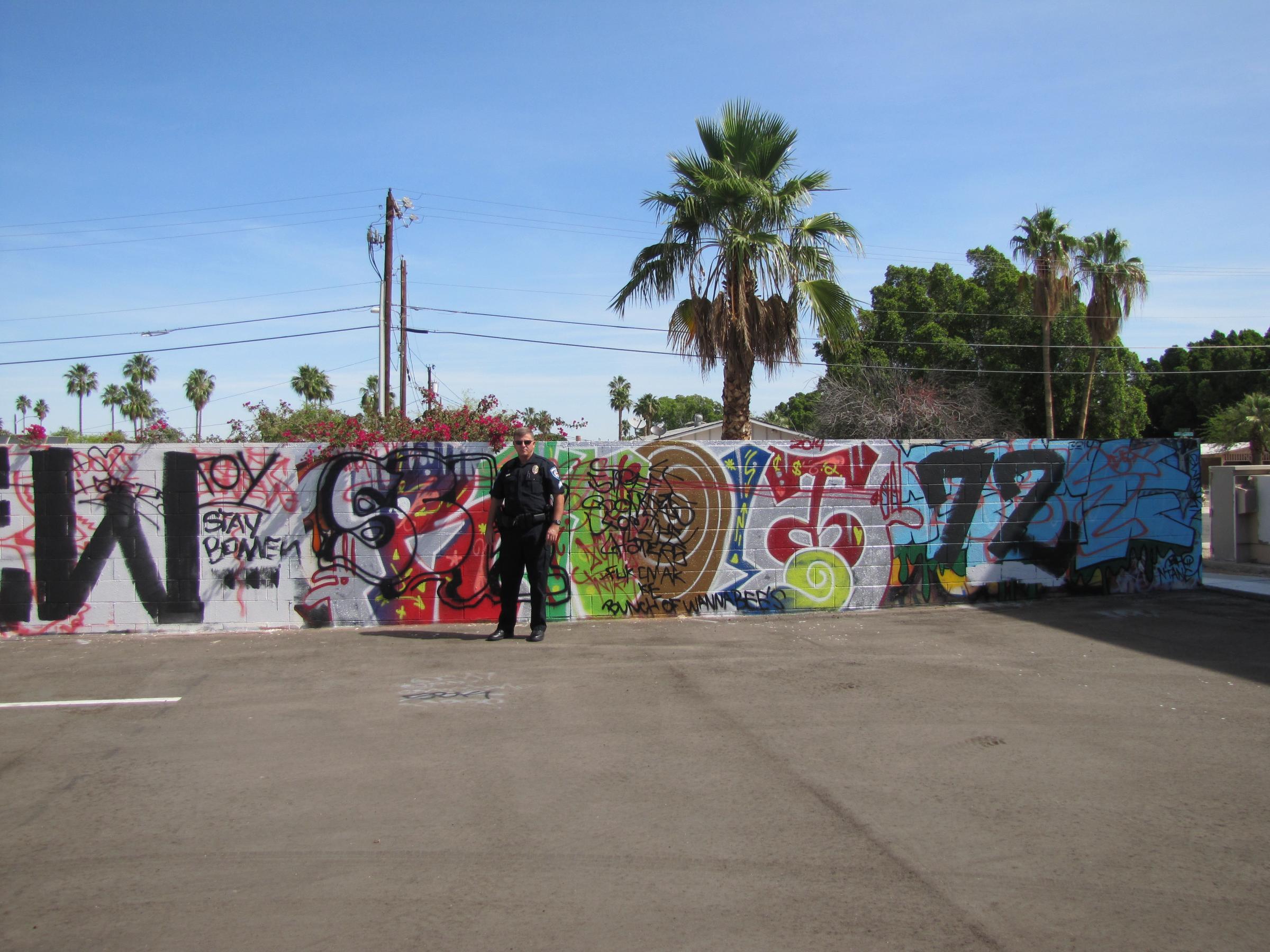 Graffiti wall activity - Sergeant Scott Legros Vertical Church Wall
