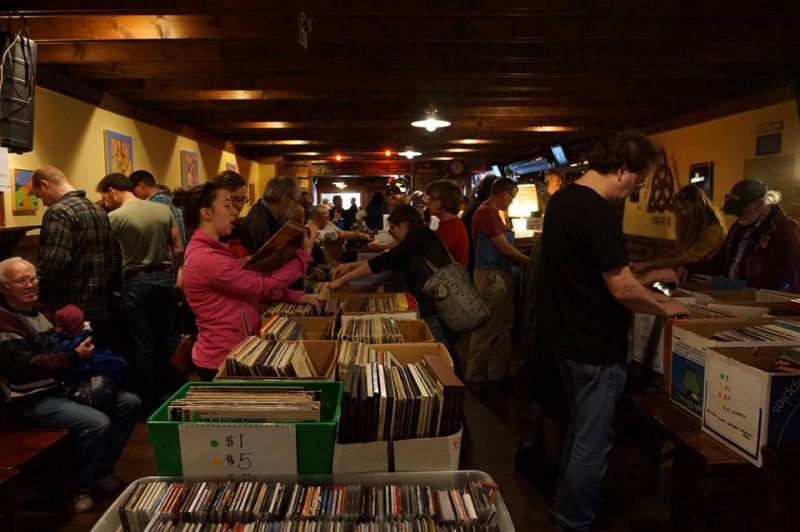 Action shot of record buying