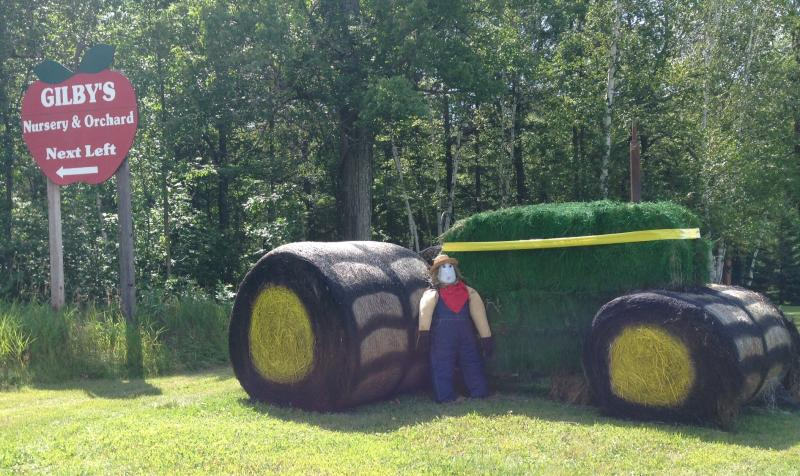 A hay tractor welcomes visitors to Gilby's Orchard