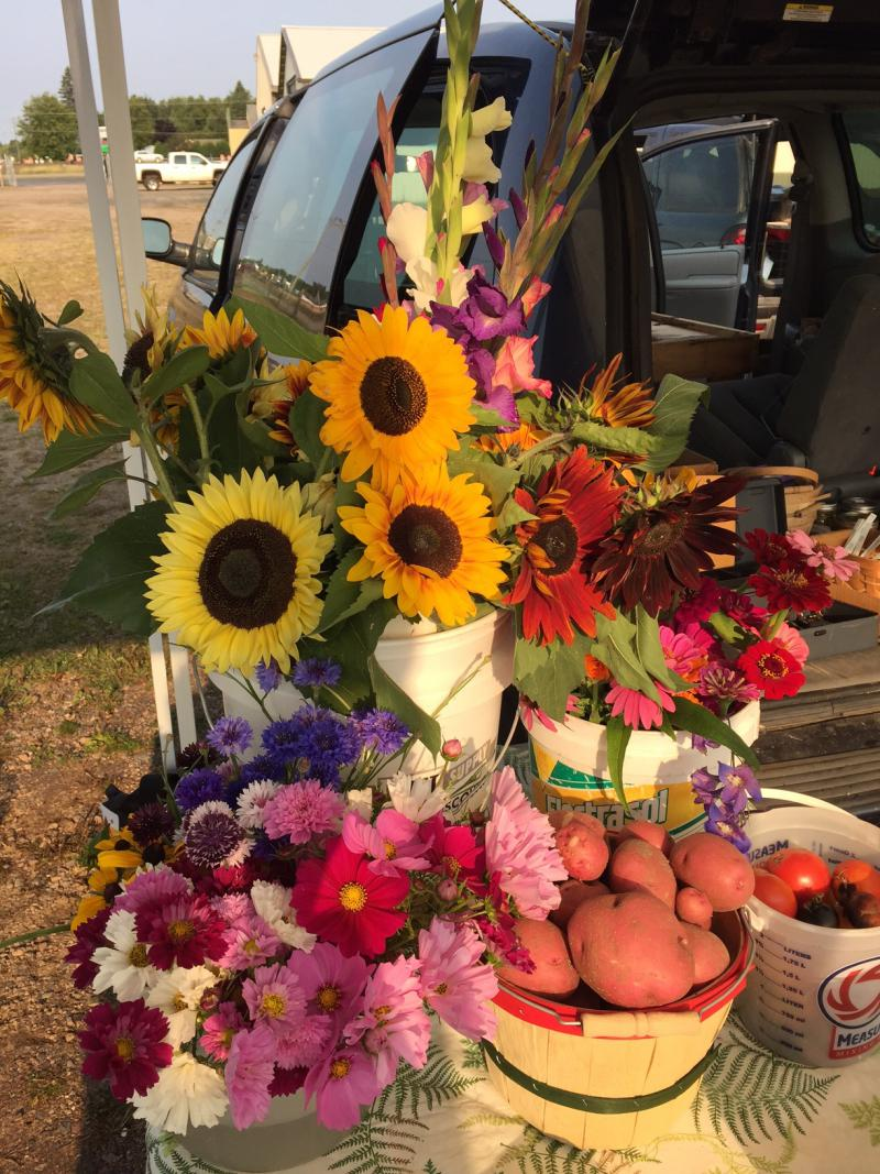 Flowers and produce from Floodwood River Farm
