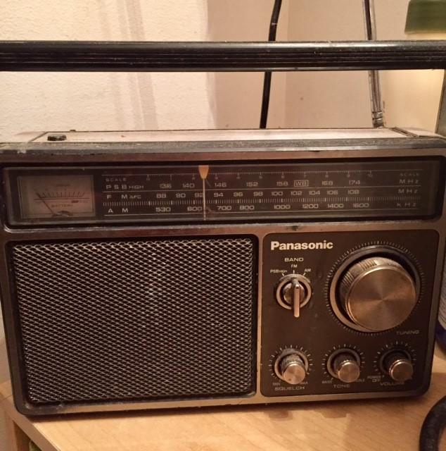 Gail's radio: This is my dad's old Panasonic that spent 30 years in his garage before it found its resting place in my bathroom.