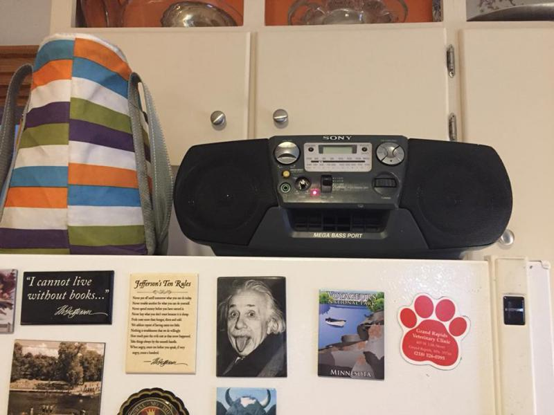 Molly's radio (on the fridge!)