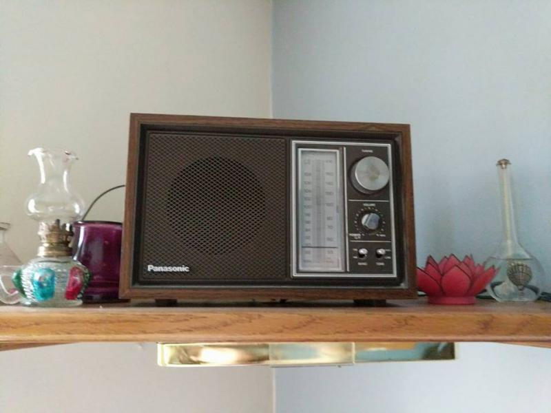 Valerie's radio: One of my dad's old radios filling in until we hook up the receiver.