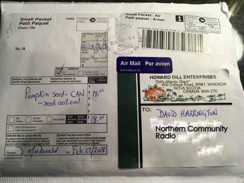 Seeds for giant pumpkins arrive from Canada.