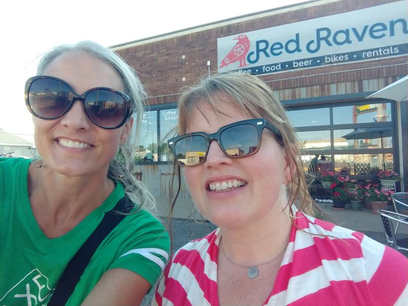 Katie & Heidi outside the Red Raven