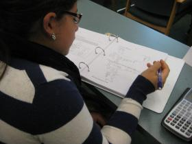 A student works on a problem during the Algebra Academy.