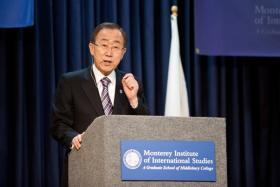 UN Secretary General Ban Ki Moon speaking at the Monterey Institute.