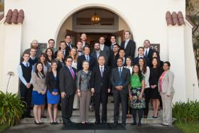 UN Secretary General Ban Ki Moon with students and staff of the Monterey Institute of International Studies.