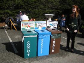A zero waste station at the AT&T Pro-Am