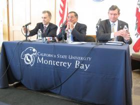 CSUMB Interim President Eduardo Ochoa, Secretary Leon Panetta and CSU Chancellor Timothy White