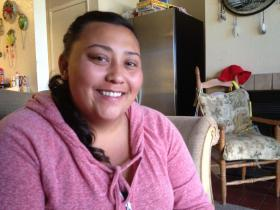 Tanae Gabot at her apartment in Salinas.