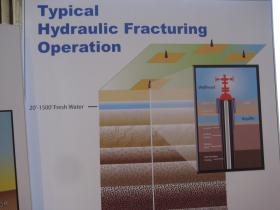 A poster at the public workshop in Monterey depicts a typical hydraulic fracturing operation.