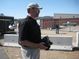 PSI's Richard Guiler controls the Instant Eye UAV.