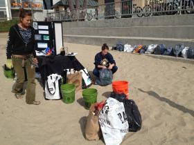 Save Our Shores' Rachel Kippen and Bronti Patterson clean up Cowell Beach.