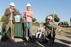 Salinas Mayor Joe Gunter, Amanda Bakker, Tatum Bakker and Shawn Bakker at the ground breaking ceremony for Tatum's Garden fully inclusive playground.