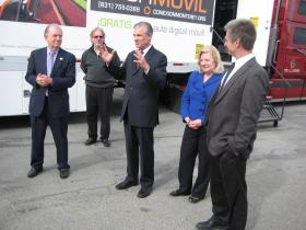 State Superintendent of Schools Tom Torlakson (center) visits Millennium Charter High School in Salinas.  He stands with Principal Peter Gray (far right), Monterey County Superintendent of Schools Nancy Kotowski, and Executive Director of the Media Center Hamish Tyler (far left).
