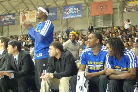 Moe Baker cheers his teammates on during a game against the Sioux Falls Skyforce