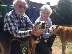 David Burbidge and Sandy Schachter in Carmel Valley with their dogs Juno and Argus.