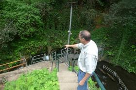 SLV Water District Director of Operations Rick Rogers explains the patchwork repairs done on the Fall Creek fish ladder in the years before San Lorenzo Valley became Felton's water provider.