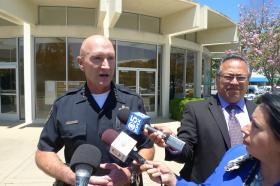 Salinas Chief of Police Kelly McMillin speaks with reporters about the investigation into the shooting of Carlos Mejia by two police officers.