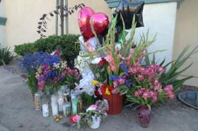 A shrine of flowers and balloons marks the spot where Carlos Mejia was killed on May 20.