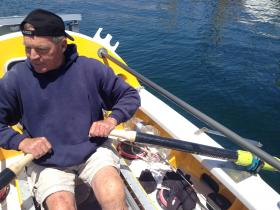 Jim Bauer rows on the Monterey Bay.