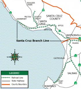 The Santa Cruz Branch Line is 32 miles of freight rail between Davenport and Watsonville.