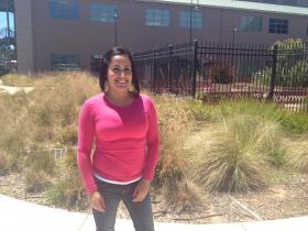 WELI Scholar Edna Valdez stands in the courtyard at Hartnell College's Alisal campus.