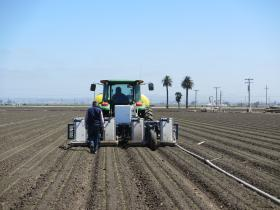Blue River Technology's LettuceBot thins a field in Salinas.  Jorge Heraud follows the machine to monitor its decision making.