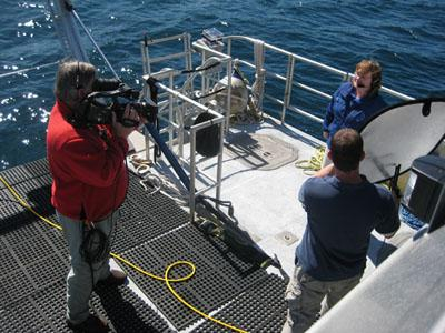 Dawn Hayes prepares for live shot in the show Immersion Presents Monterey Bay.