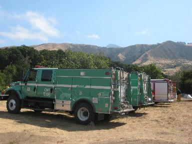 The Basin Complex Fire Base Camp is set up in Andrew Molera State Park.