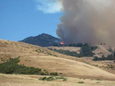 The Basin Complex Fire burns just off Highway 1 near Andrew Molera State Park.
