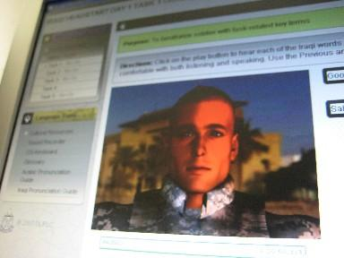A U.S. Soldier avatar is just one language learning tool used in the Iraqi Headstart program.