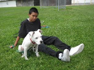 8th grader Alex Arzeta sits with his dog Fifi after a training session.