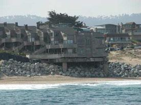 A seawall protects homes on Monterey's Del Monte Beach.