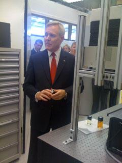 Secretary of Navy Ray Mabus in the NPS Rocket Propulsion Lab