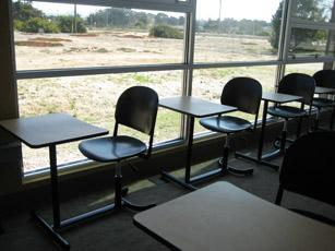 A classroom on Monterey Peninsula College's new campus looks out on land that the college will expand on, if other development picks up on the former Army base.