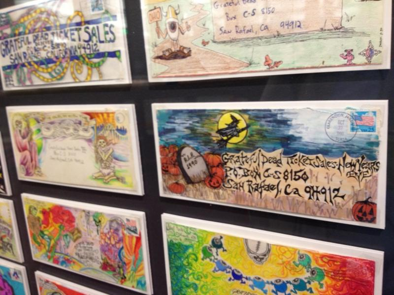 On display in Dead Central: envelopes fans decorated and mailed to the Grateful Dead when ordering concert tickets.
