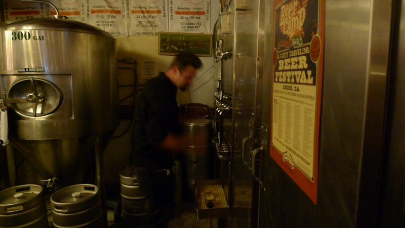 11:00pm: Nick Tribble, a waiter at Boulder Creek Brewery, is a blur as he finishes a shift while his daughters--2 and 4-- play nearby.