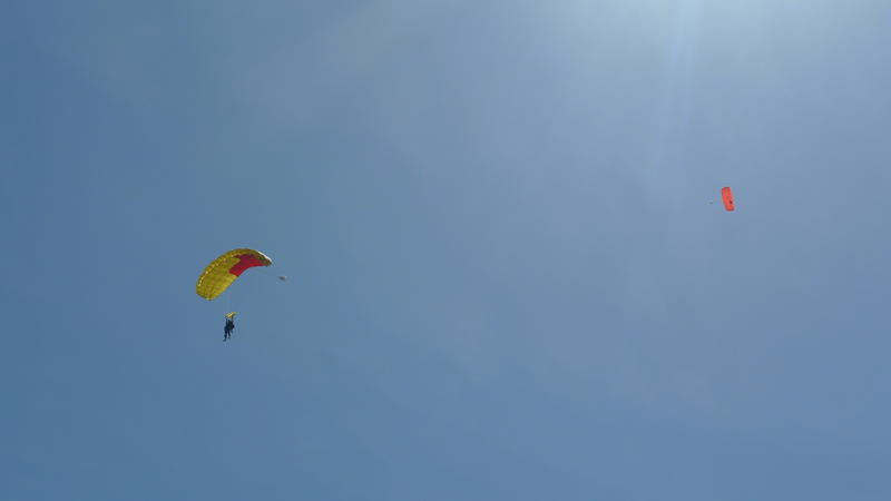 1:00pm: First-time skydivers land near an apple Orchard in Freedom.