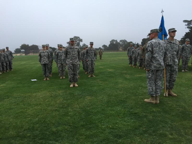 7:00am: First Sergeant Jacob Holland (right, facing Delta Company 229th) holds an accountability formation at the Defense Language Institute in Monterey.