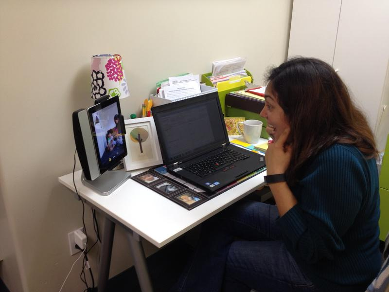 BabyTalk Speech Pathologist Patricia Gomez works with the Lopez Family via FaceTime from her office at the Weingarten Children's Center in Redwood City.